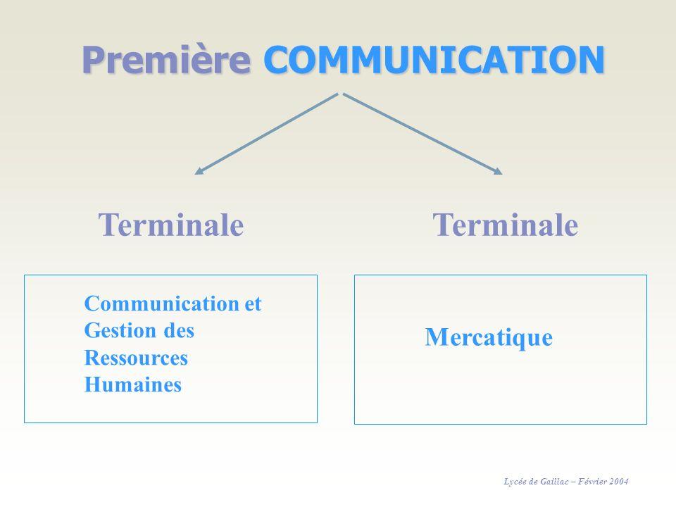 Première COMMUNICATION Terminale Communication et Gestion des Ressources Humaines Mercatique Lycée de Gaillac – Février 2004