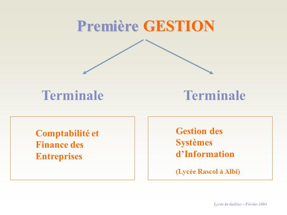 Première GESTION Terminale Comptabilité et Finance des Entreprises Lycée de Gaillac – Février 2004 Gestion des Systèmes dInformation (Lycée Rascol à A