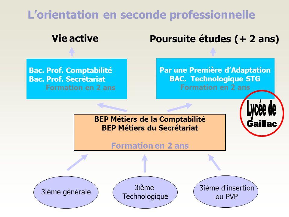 Lorientation en seconde professionnelle 3ième générale 3ième d'insertion ou PVP 3ième Technologique BEP Métiers de la Comptabilité BEP Métiers du Secr