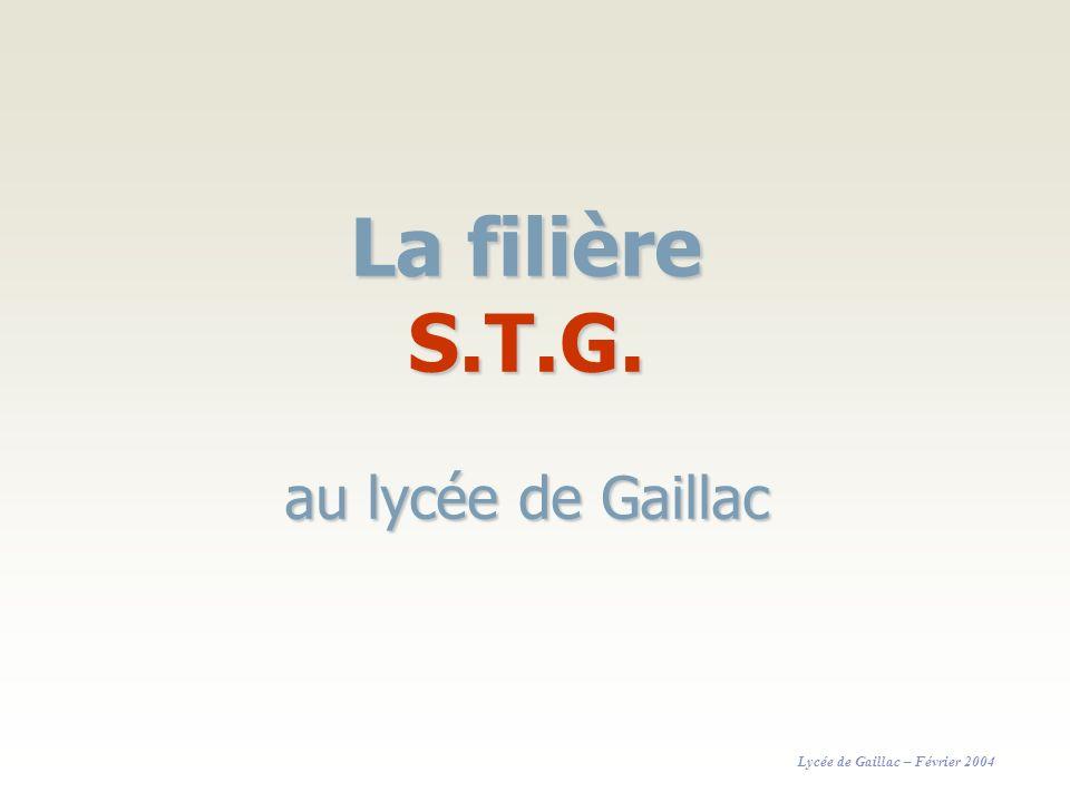 La filière S.T.G. au lycée de Gaillac Lycée de Gaillac – Février 2004