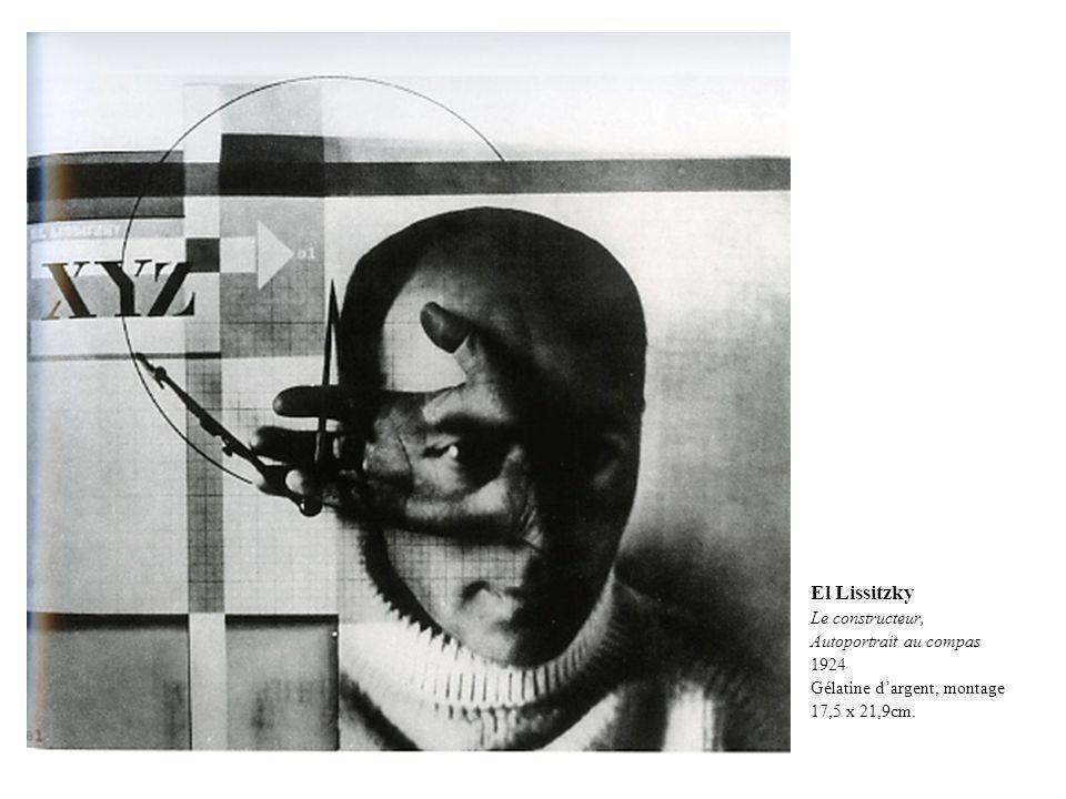 El Lissitzky Le constructeur, Autoportrait au compas 1924 Gélatine dargent, montage 17,5 x 21,9cm.