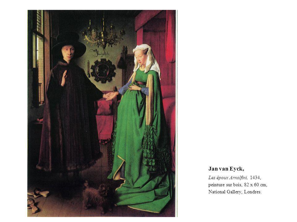 Jan van Eyck, Les époux Arnolfini, 1434, peinture sur bois, 82 x 60 cm, National Gallery, Londres.