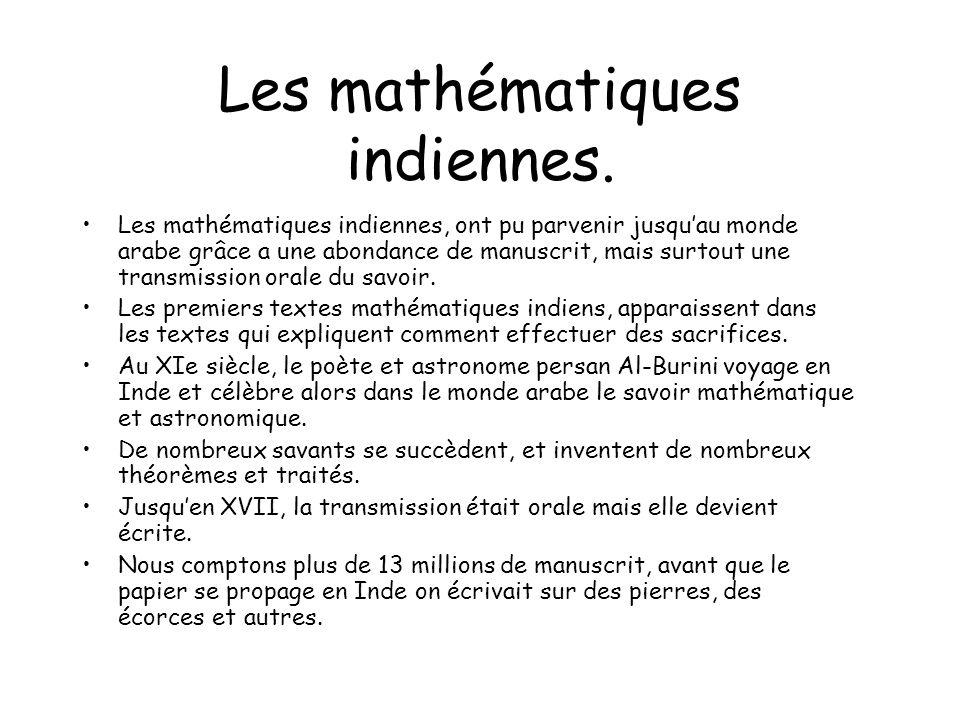 Les mathématiques indiennes.