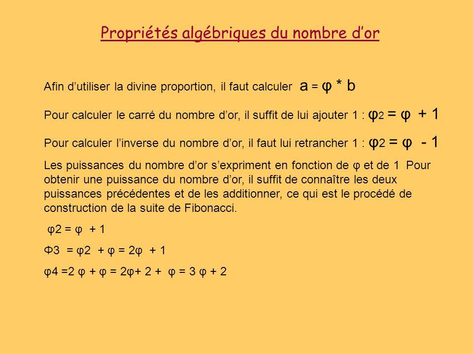 Propriétés algébriques du nombre dor Afin dutiliser la divine proportion, il faut calculer a = φ * b Pour calculer le carré du nombre dor, il suffit d