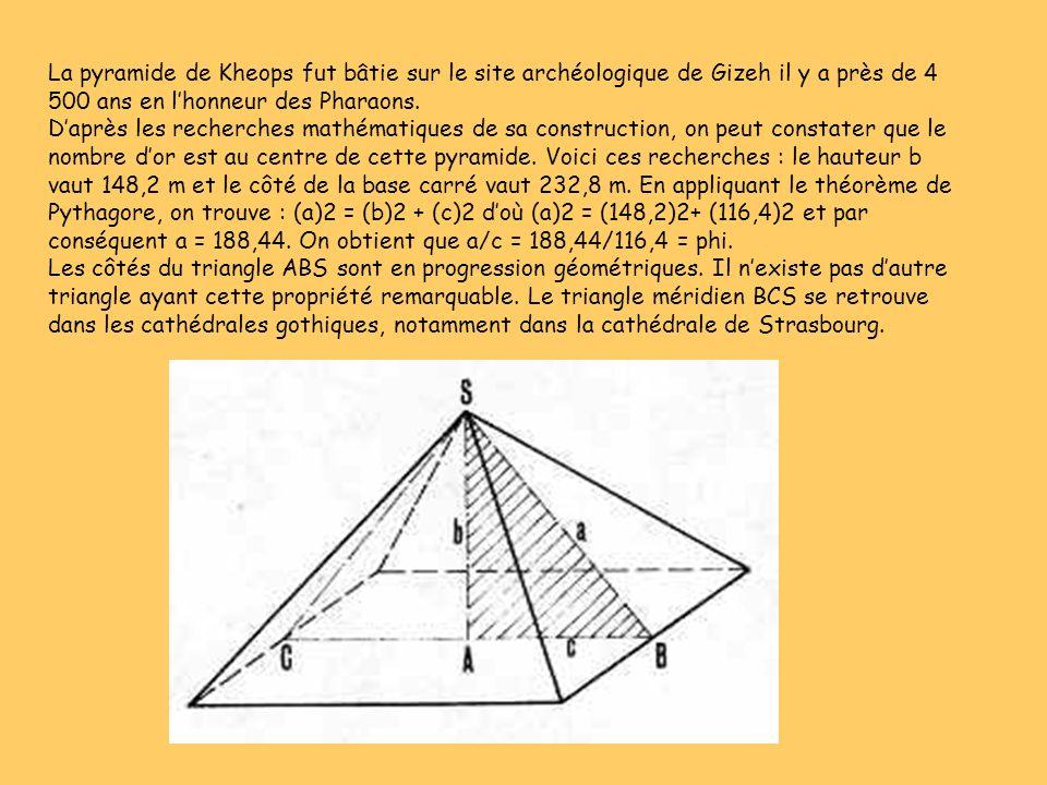La pyramide de Kheops fut bâtie sur le site archéologique de Gizeh il y a près de 4 500 ans en lhonneur des Pharaons. Daprès les recherches mathématiq