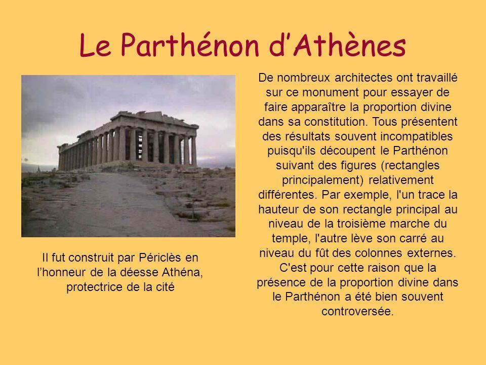 Le Parthénon dAthènes De nombreux architectes ont travaillé sur ce monument pour essayer de faire apparaître la proportion divine dans sa constitution