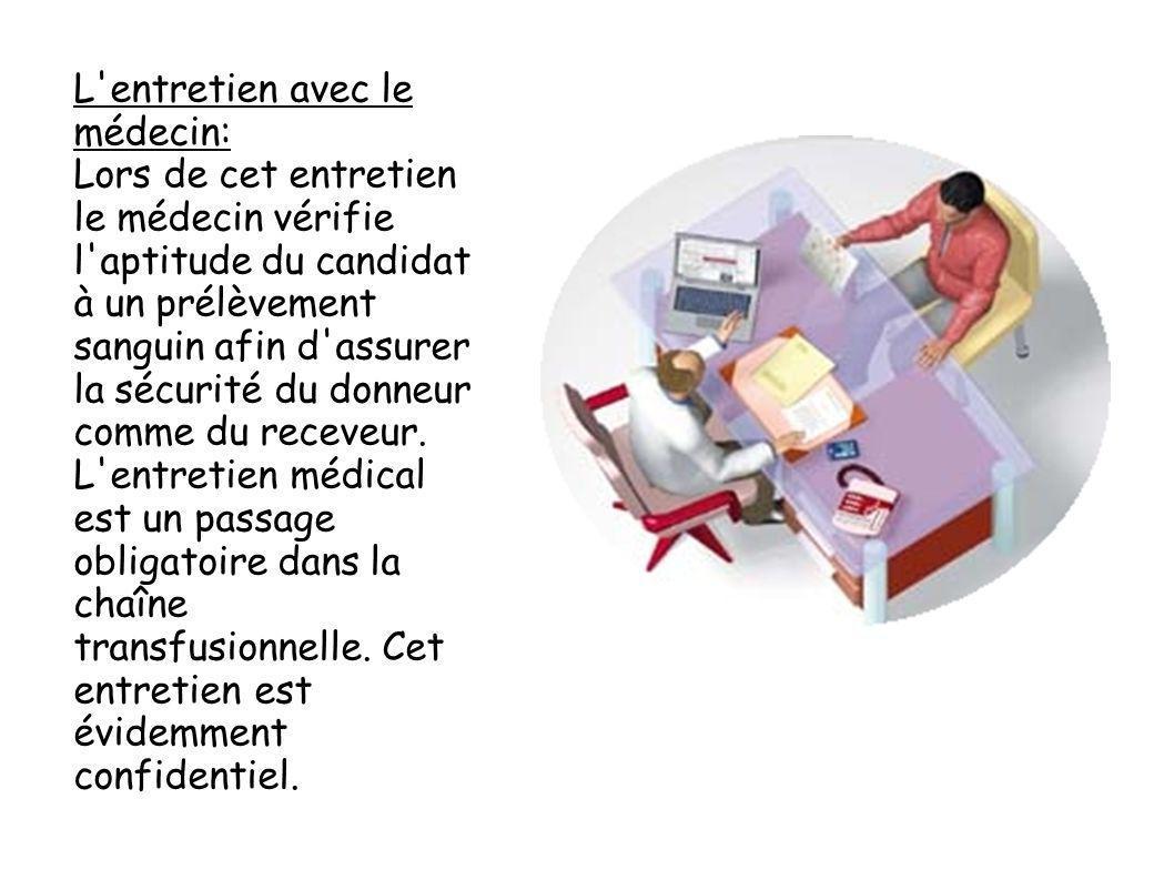 L'entretien avec le médecin: Lors de cet entretien le médecin vérifie l'aptitude du candidat à un prélèvement sanguin afin d'assurer la sécurité du do