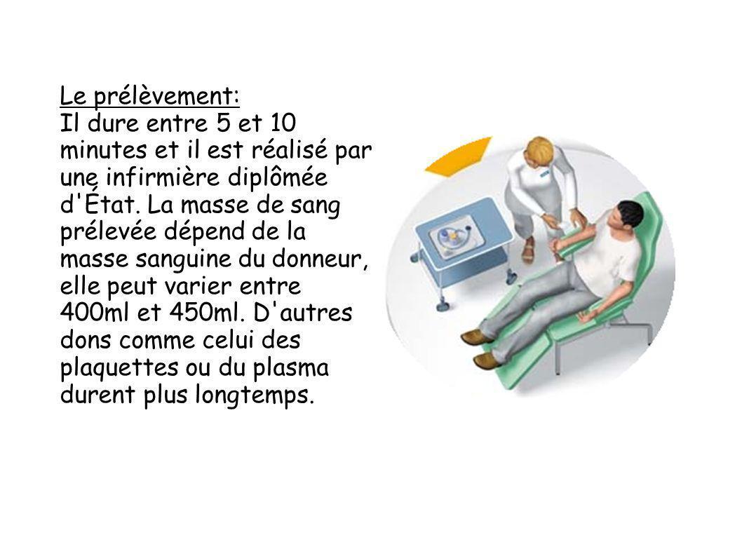 Le prélèvement: Il dure entre 5 et 10 minutes et il est réalisé par une infirmière diplômée d'État. La masse de sang prélevée dépend de la masse sangu