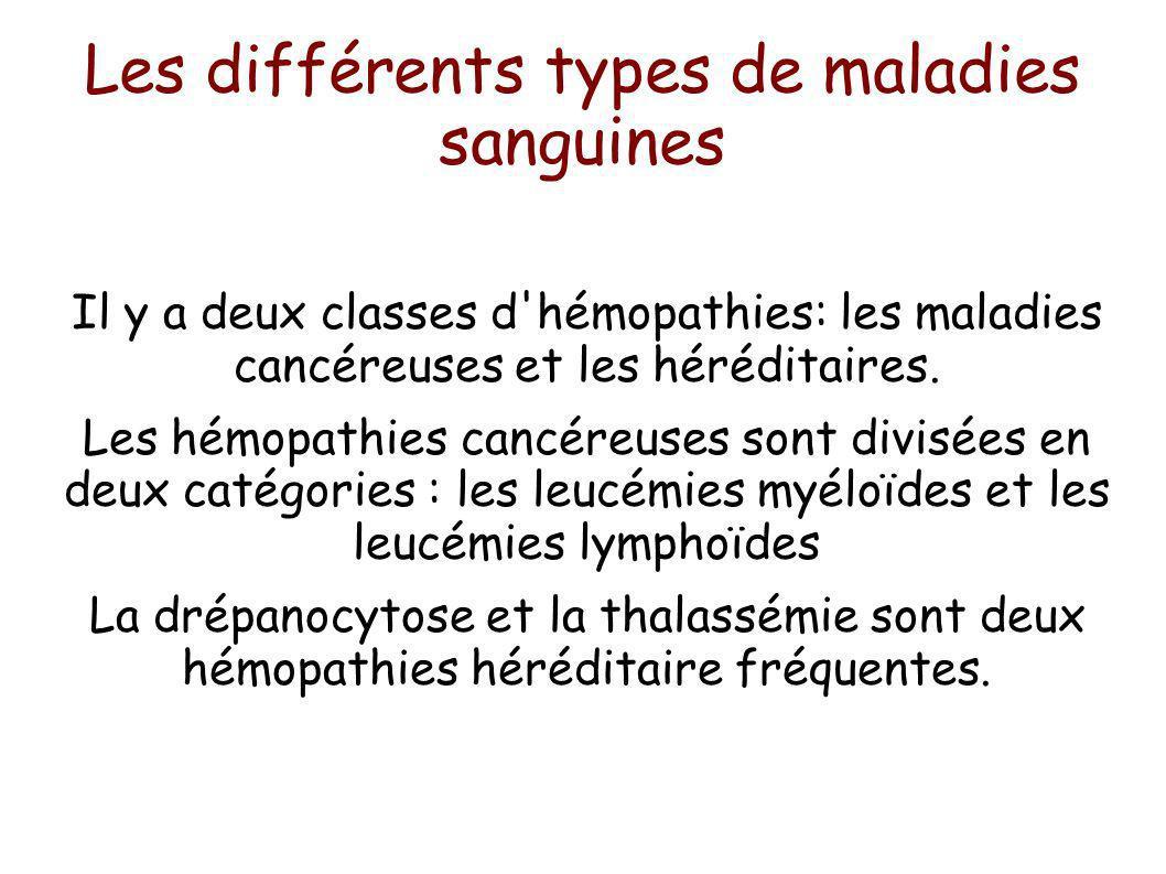 Les différents types de maladies sanguines Il y a deux classes d'hémopathies: les maladies cancéreuses et les héréditaires. Les hémopathies cancéreuse