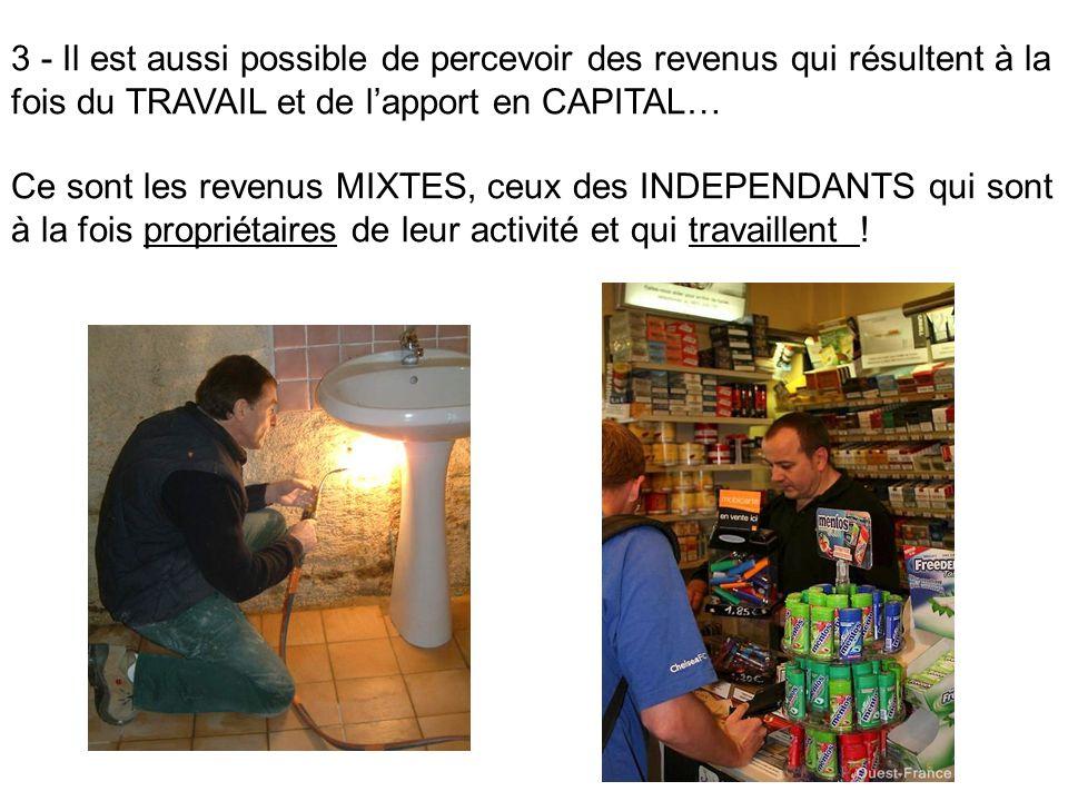 3 - Il est aussi possible de percevoir des revenus qui résultent à la fois du TRAVAIL et de lapport en CAPITAL… Ce sont les revenus MIXTES, ceux des I