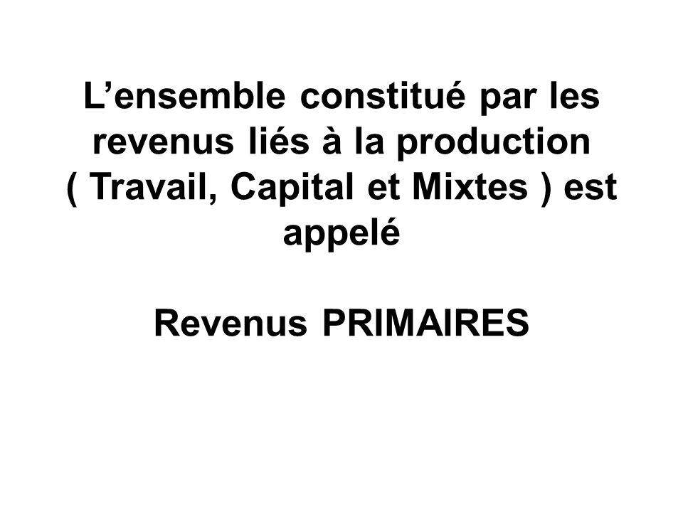 Lensemble constitué par les revenus liés à la production ( Travail, Capital et Mixtes ) est appelé Revenus PRIMAIRES