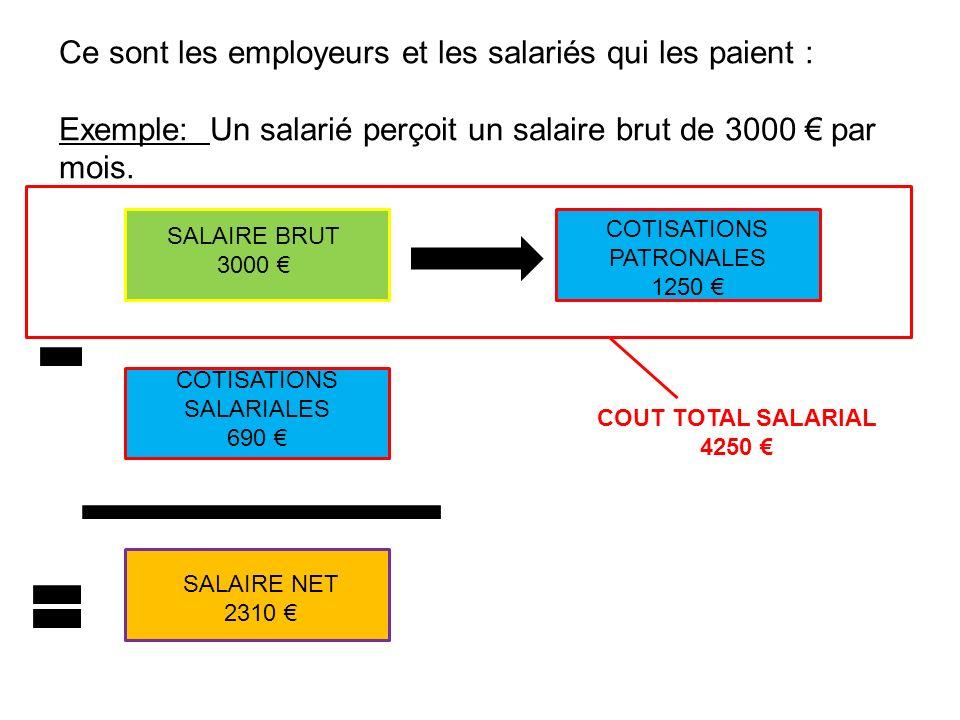 Ce sont les employeurs et les salariés qui les paient : Exemple: Un salarié perçoit un salaire brut de 3000 par mois. SALAIRE BRUT 3000 COTISATIONS SA