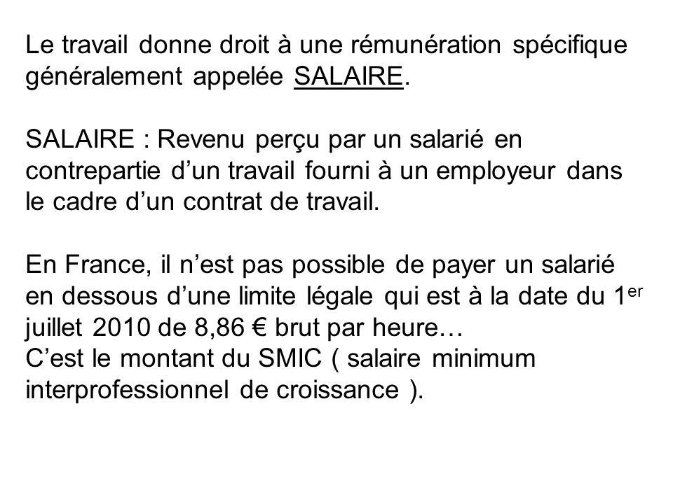Le travail donne droit à une rémunération spécifique généralement appelée SALAIRE. SALAIRE : Revenu perçu par un salarié en contrepartie dun travail f