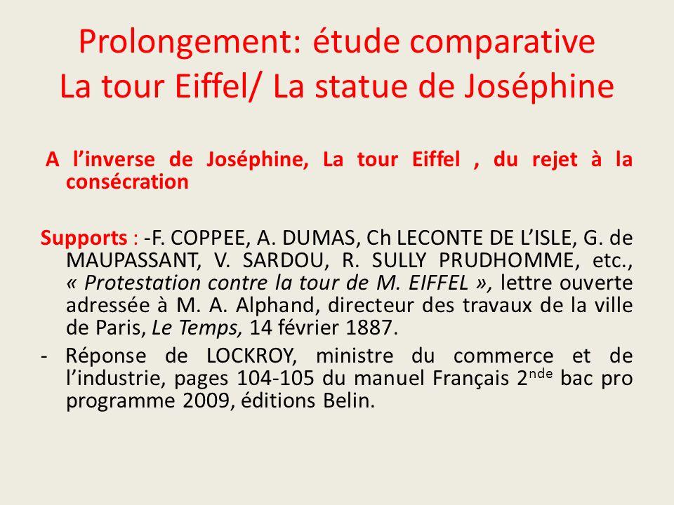 Prolongement: étude comparative La tour Eiffel/ La statue de Joséphine A linverse de Joséphine, La tour Eiffel, du rejet à la consécration Supports :