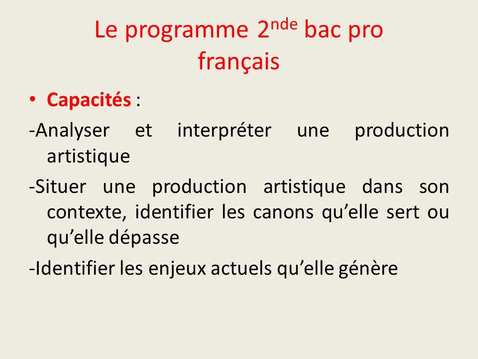 Le programme 2 nde bac pro français Capacités : -Analyser et interpréter une production artistique -Situer une production artistique dans son contexte