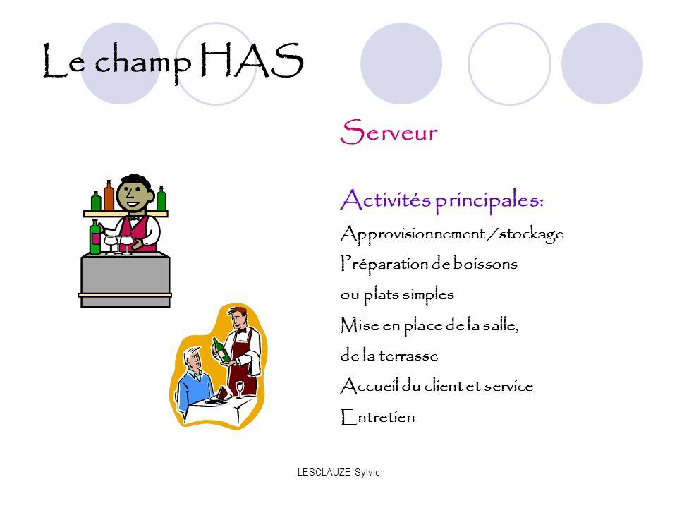 LESCLAUZE Sylvie Le champ HAS Serveur Activités principales: Approvisionnement /stockage Préparation de boissons ou plats simples Mise en place de la
