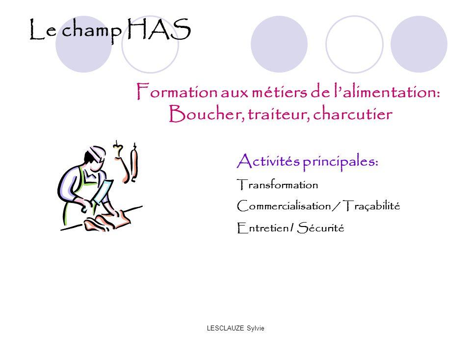 LESCLAUZE Sylvie Le champ HAS Formation aux métiers de lalimentation: Boucher, traiteur, charcutier Activités principales: Transformation Commercialisation / Traçabilité Entretien / Sécurité