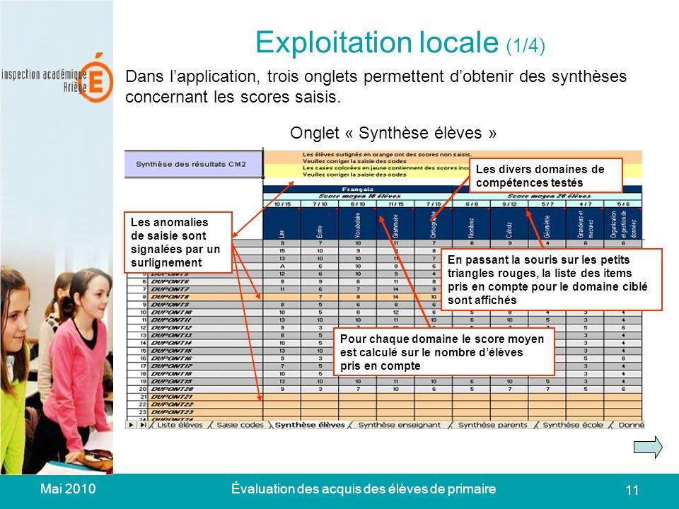 Mai 2010Évaluation des acquis des élèves de primaire 11 Exploitation locale (1/4) Dans lapplication, trois onglets permettent dobtenir des synthèses concernant les scores saisis.