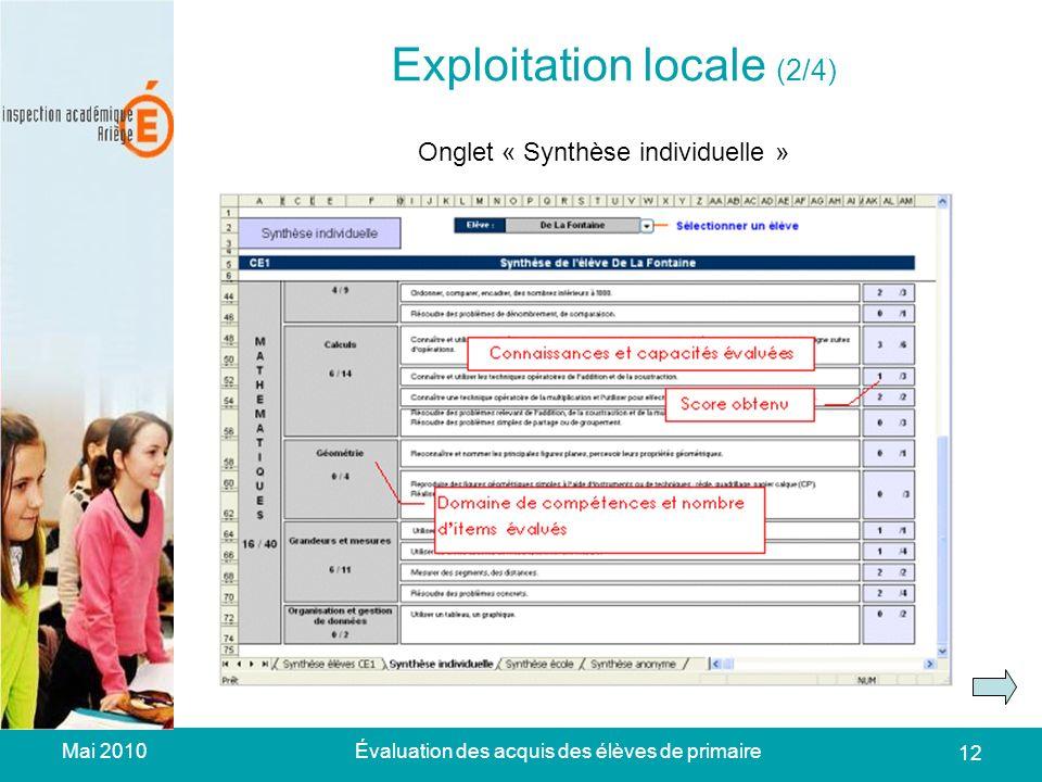 Mai 2010Évaluation des acquis des élèves de primaire 12 Exploitation locale (2/3) Exploitation locale (2/4) Onglet « Synthèse individuelle »