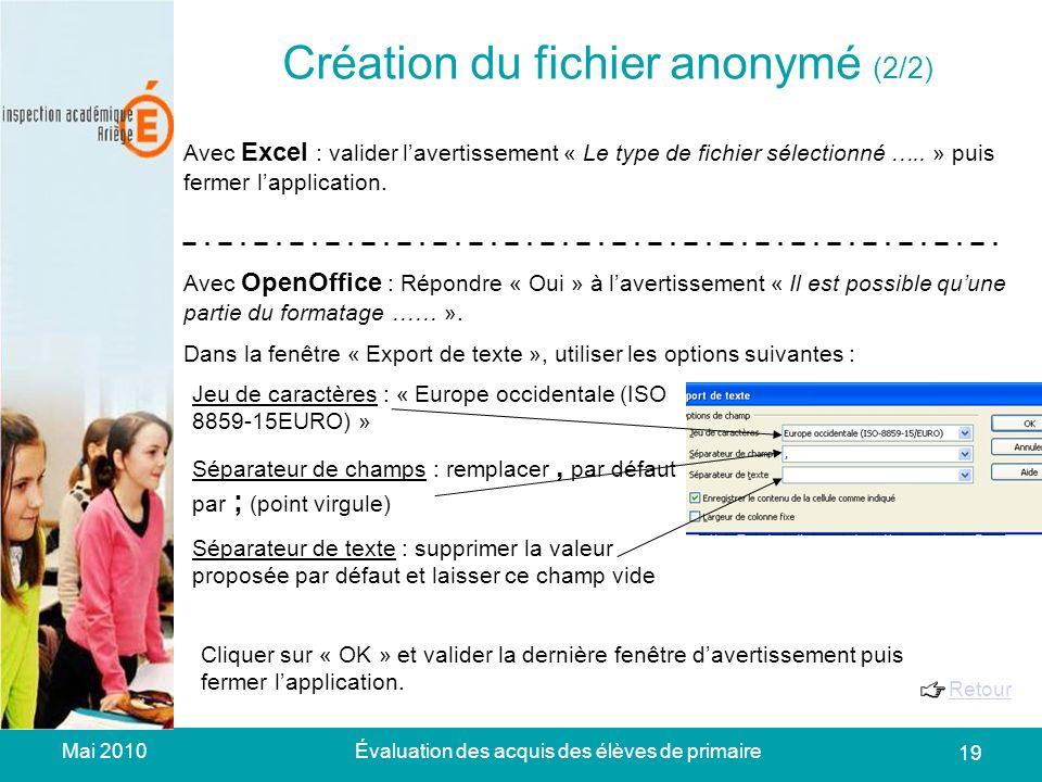 Mai 2010Évaluation des acquis des élèves de primaire 19 Création du fichier anonymé (2/2) Avec Excel : valider lavertissement « Le type de fichier sélectionné …..
