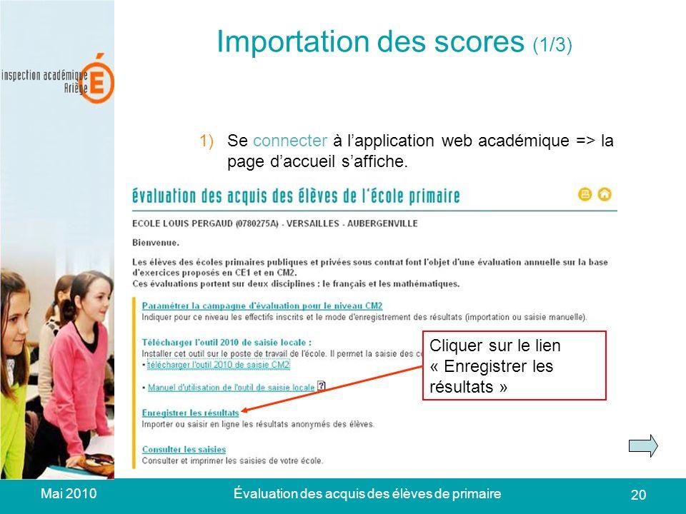 Mai 2010Évaluation des acquis des élèves de primaire 20 Importation des scores (1/3) 1)Se connecter à lapplication web académique => la page daccueil saffiche.
