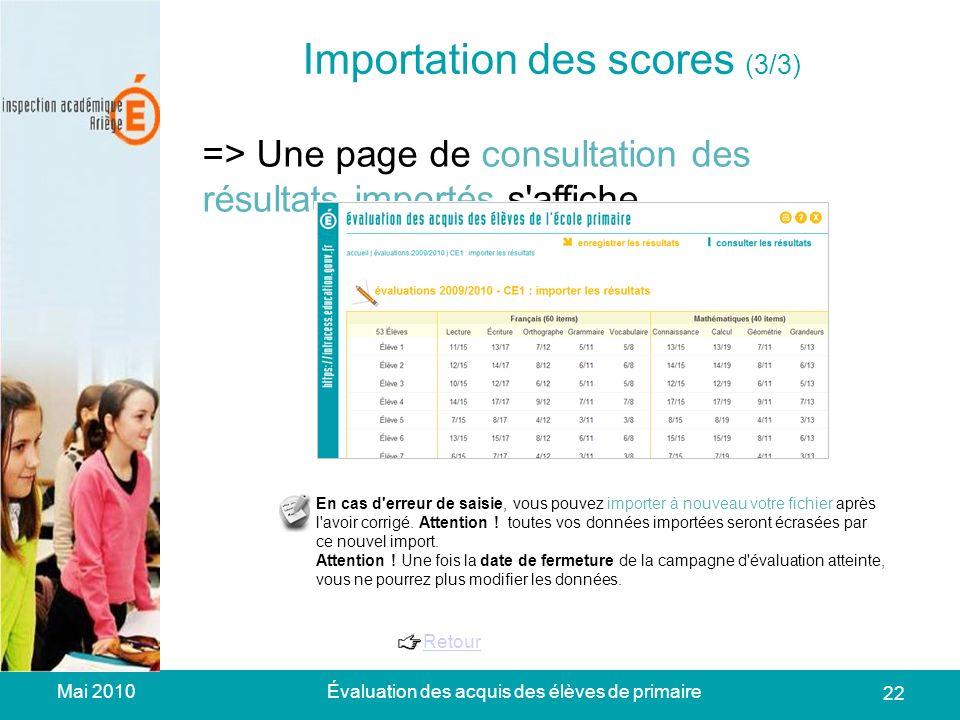 Mai 2010Évaluation des acquis des élèves de primaire 22 Importation des scores (3/3) => Une page de consultation des résultats importés s affiche.