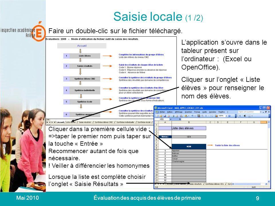 Mai 2010Évaluation des acquis des élèves de primaire 9 Saisie locale (1 /2) Faire un double-clic sur le fichier téléchargé.