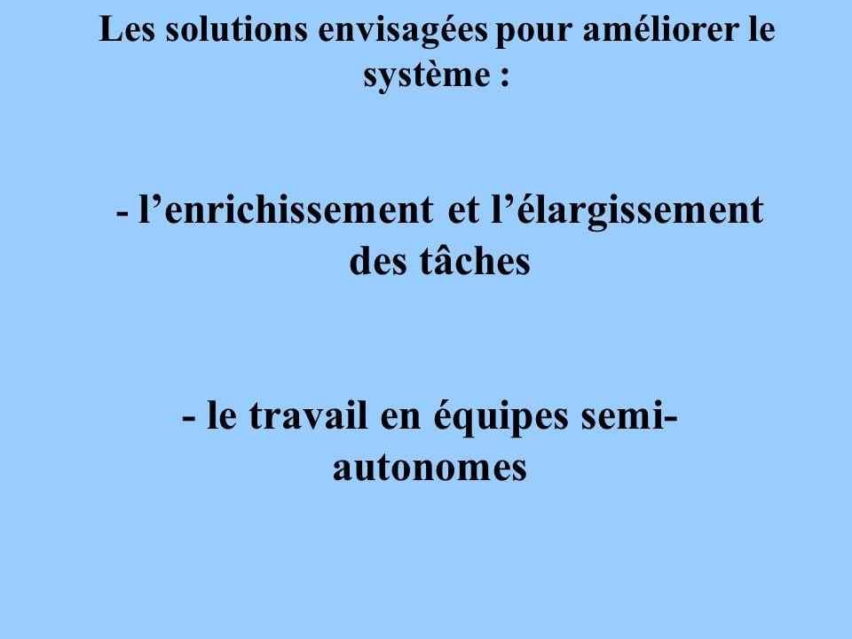 Les solutions envisagées pour améliorer le système : - lenrichissement et lélargissement des tâches - le travail en équipes semi- autonomes