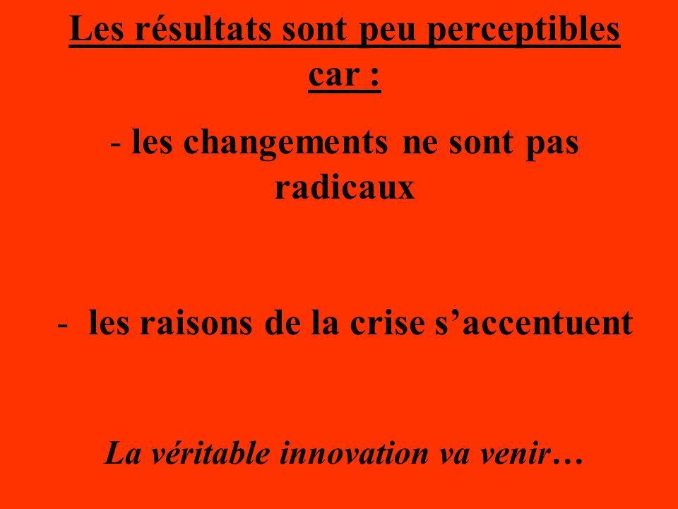 Les résultats sont peu perceptibles car : - les changements ne sont pas radicaux - les raisons de la crise saccentuent La véritable innovation va veni