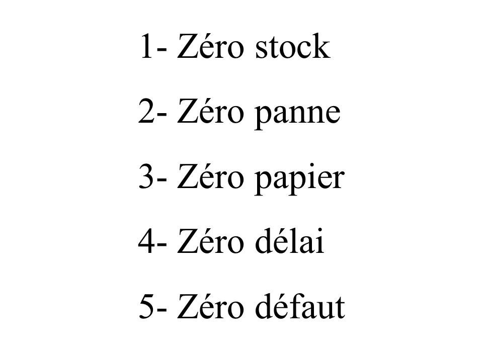 1- Zéro stock 2- Zéro panne 3- Zéro papier 4- Zéro délai 5- Zéro défaut