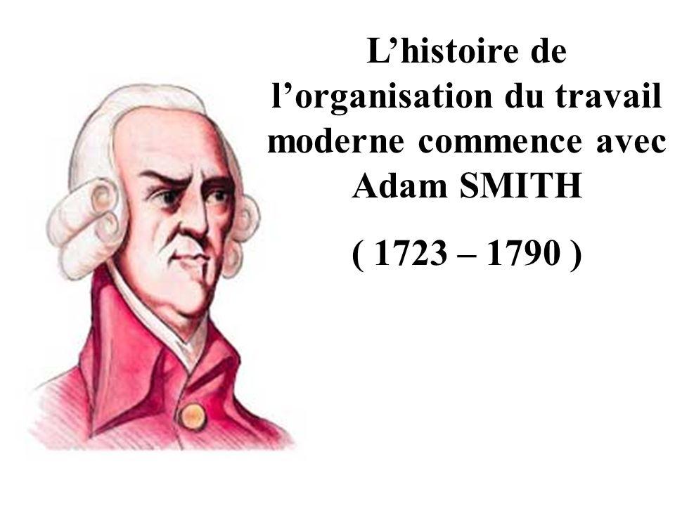 Lhistoire de lorganisation du travail moderne commence avec Adam SMITH ( 1723 – 1790 )