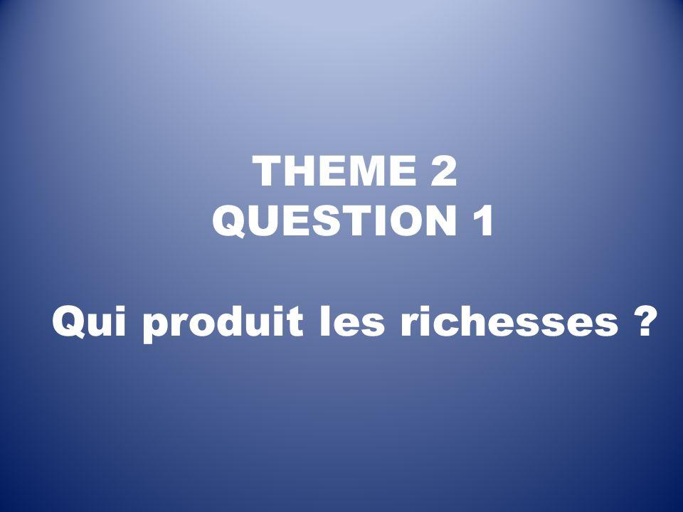 THEME 2 QUESTION 1 Qui produit les richesses ?