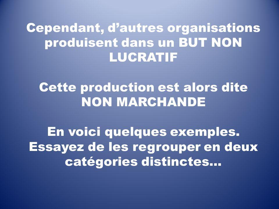 Cependant, dautres organisations produisent dans un BUT NON LUCRATIF Cette production est alors dite NON MARCHANDE En voici quelques exemples. Essayez