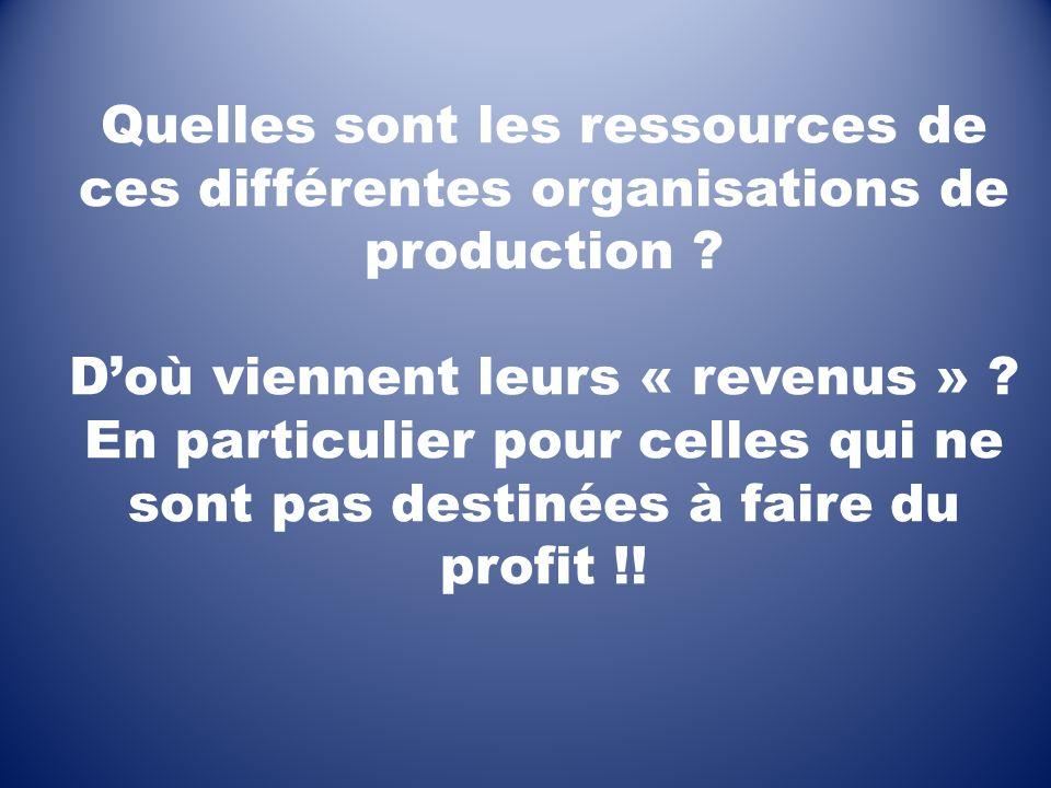 Quelles sont les ressources de ces différentes organisations de production ? Doù viennent leurs « revenus » ? En particulier pour celles qui ne sont p
