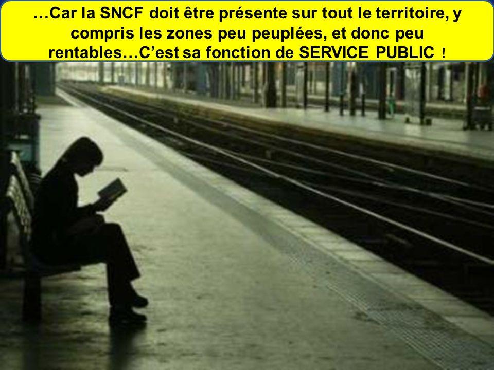 …Car la SNCF doit être présente sur tout le territoire, y compris les zones peu peuplées, et donc peu rentables…Cest sa fonction de SERVICE PUBLIC !