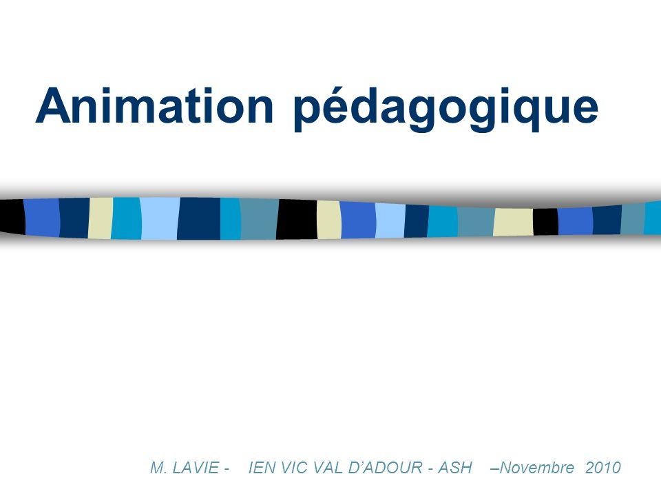 Animation pédagogique M. LAVIE - IEN VIC VAL DADOUR - ASH –Novembre 2010