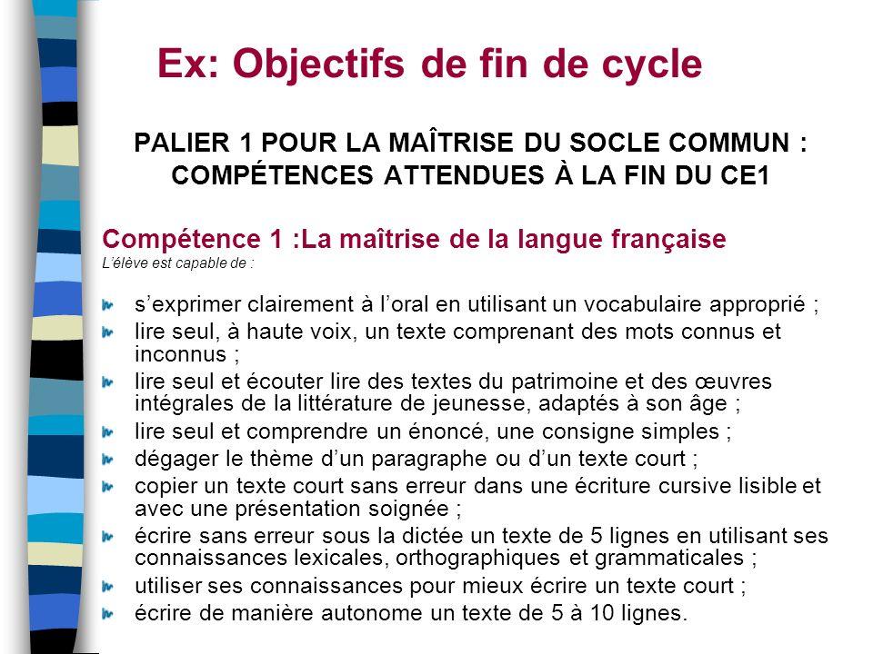 Ex: Objectifs de fin de cycle PALIER 1 POUR LA MAÎTRISE DU SOCLE COMMUN : COMPÉTENCES ATTENDUES À LA FIN DU CE1 Compétence 1 :La maîtrise de la langue