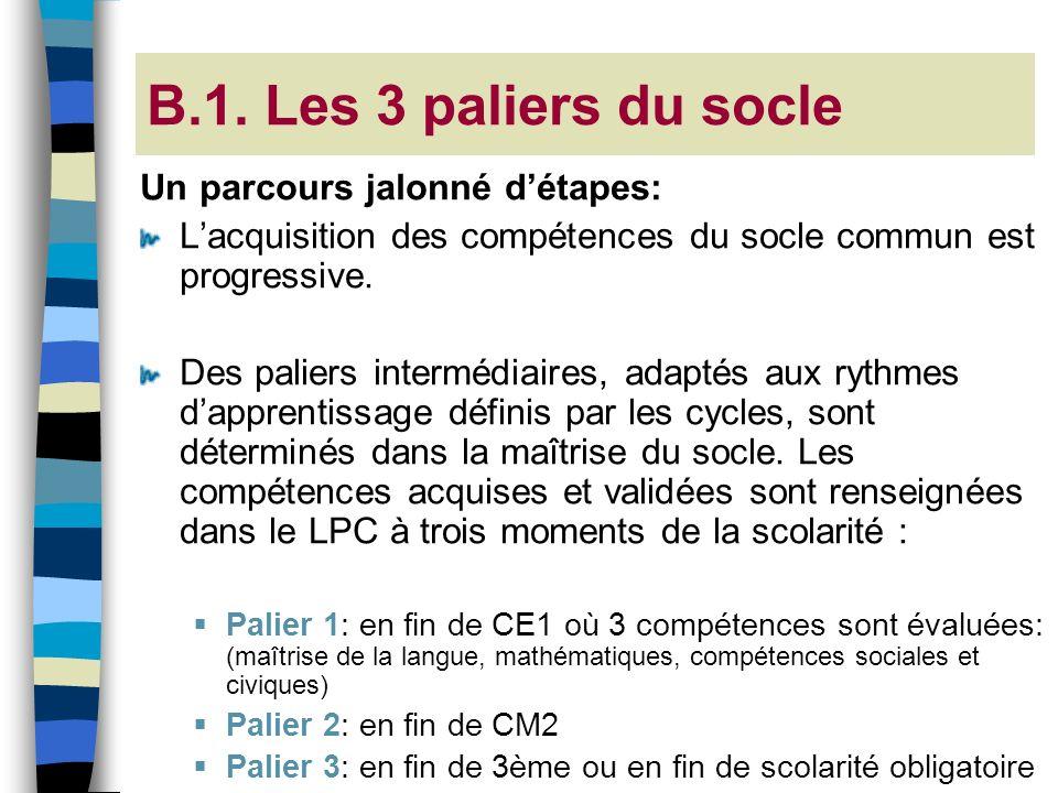 B.1. Les 3 paliers du socle Un parcours jalonné détapes: Lacquisition des compétences du socle commun est progressive. Des paliers intermédiaires, ada