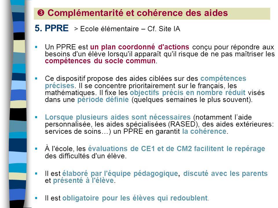 5. PPRE > Ecole élémentaire – Cf. Site IA Un PPRE est un plan coordonné d'actions conçu pour répondre aux besoins d'un élève lorsqu'il apparaît qu'il