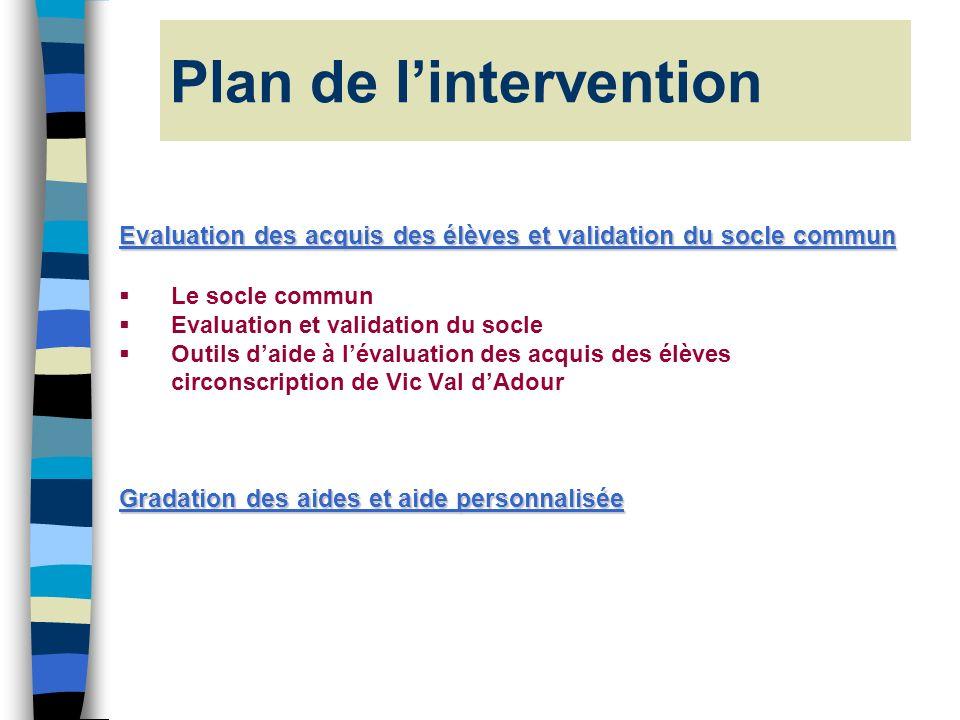 Plan de lintervention Evaluation des acquis des élèves et validation du socle commun Le socle commun Evaluation et validation du socle Outils daide à