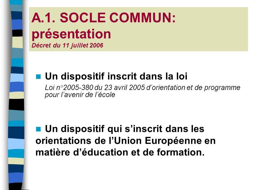 A.1. SOCLE COMMUN: présentation Décret du 11 juillet 2006 Un dispositif inscrit dans la loi Loi n°2005-380 du 23 avril 2005 dorientation et de program