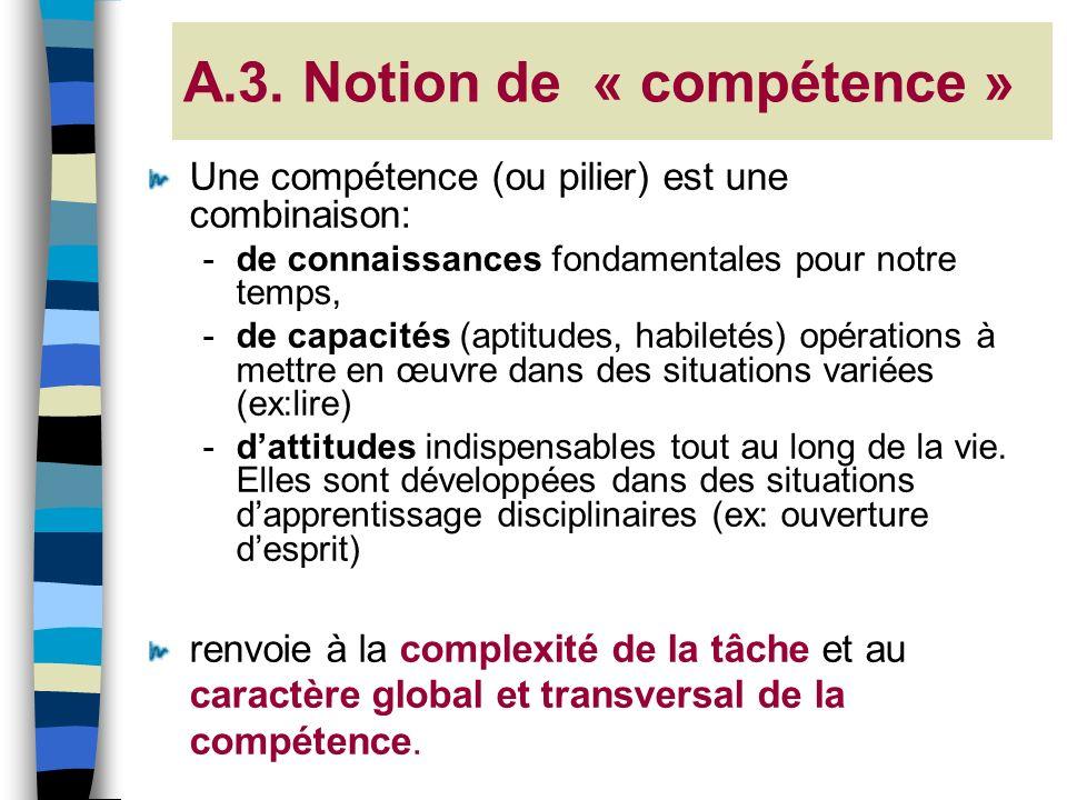 A.3. Notion de « compétence » Une compétence (ou pilier) est une combinaison: -de connaissances fondamentales pour notre temps, -de capacités (aptitud