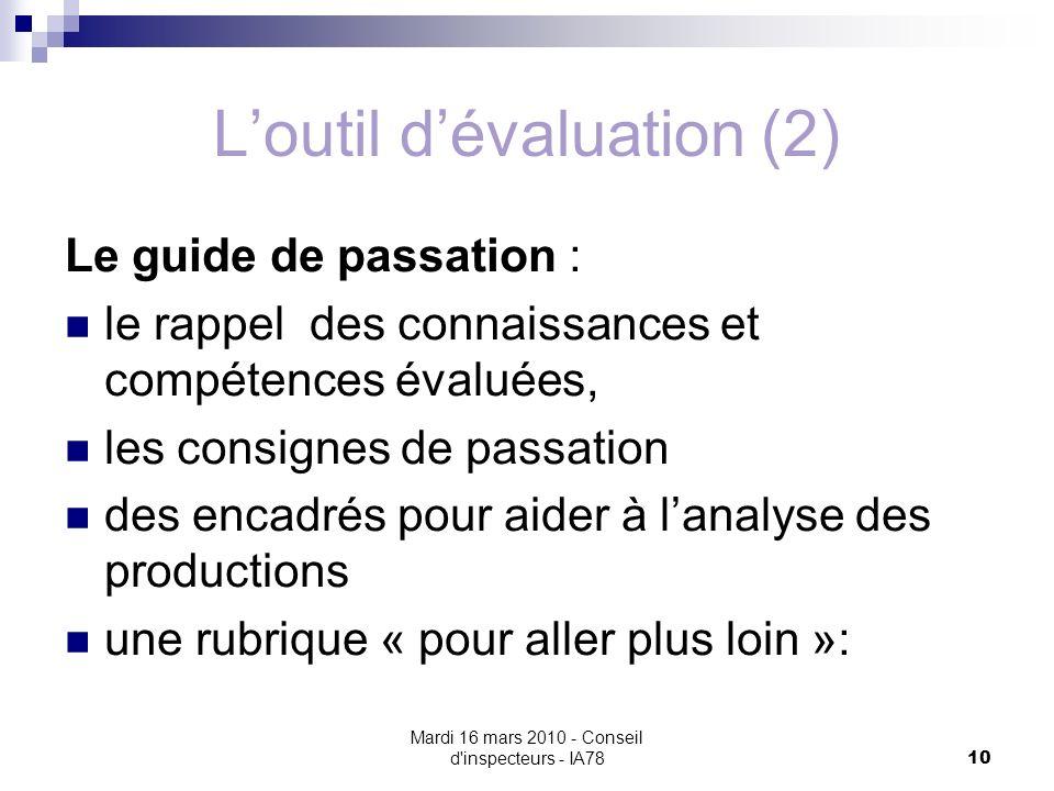Mardi 16 mars 2010 - Conseil d'inspecteurs - IA78 10 Loutil dévaluation (2) Le guide de passation : le rappel des connaissances et compétences évaluée