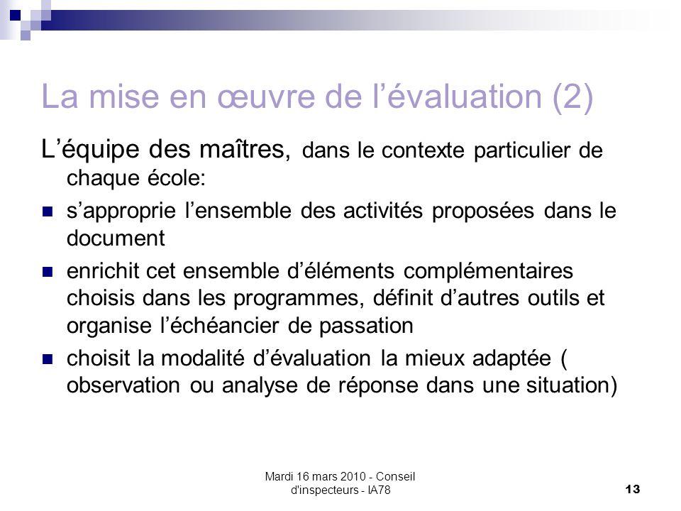Mardi 16 mars 2010 - Conseil d'inspecteurs - IA78 13 La mise en œuvre de lévaluation (2) Léquipe des maîtres, dans le contexte particulier de chaque é