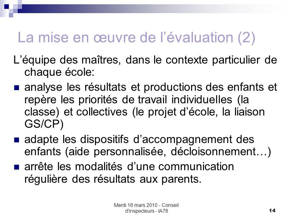 Mardi 16 mars 2010 - Conseil d'inspecteurs - IA78 14 La mise en œuvre de lévaluation (2) Léquipe des maîtres, dans le contexte particulier de chaque é