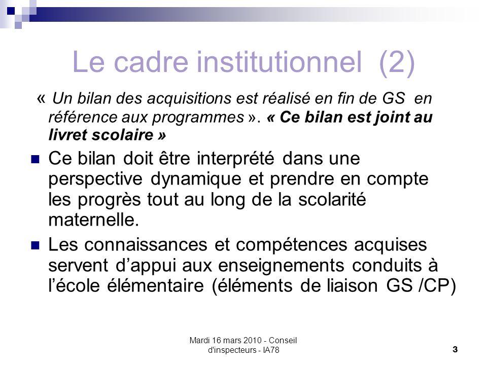 Mardi 16 mars 2010 - Conseil d inspecteurs - IA78 3 Le cadre institutionnel (2) « Un bilan des acquisitions est réalisé en fin de GS en référence aux programmes ».