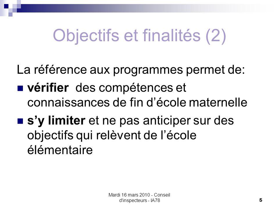 Mardi 16 mars 2010 - Conseil d inspecteurs - IA78 5 Objectifs et finalités (2) La référence aux programmes permet de: vérifier des compétences et connaissances de fin décole maternelle sy limiter et ne pas anticiper sur des objectifs qui relèvent de lécole élémentaire