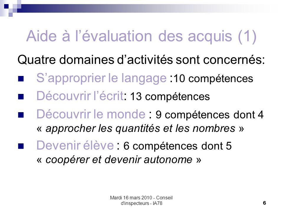 Mardi 16 mars 2010 - Conseil d'inspecteurs - IA78 6 Aide à lévaluation des acquis (1) Quatre domaines dactivités sont concernés: Sapproprier le langag