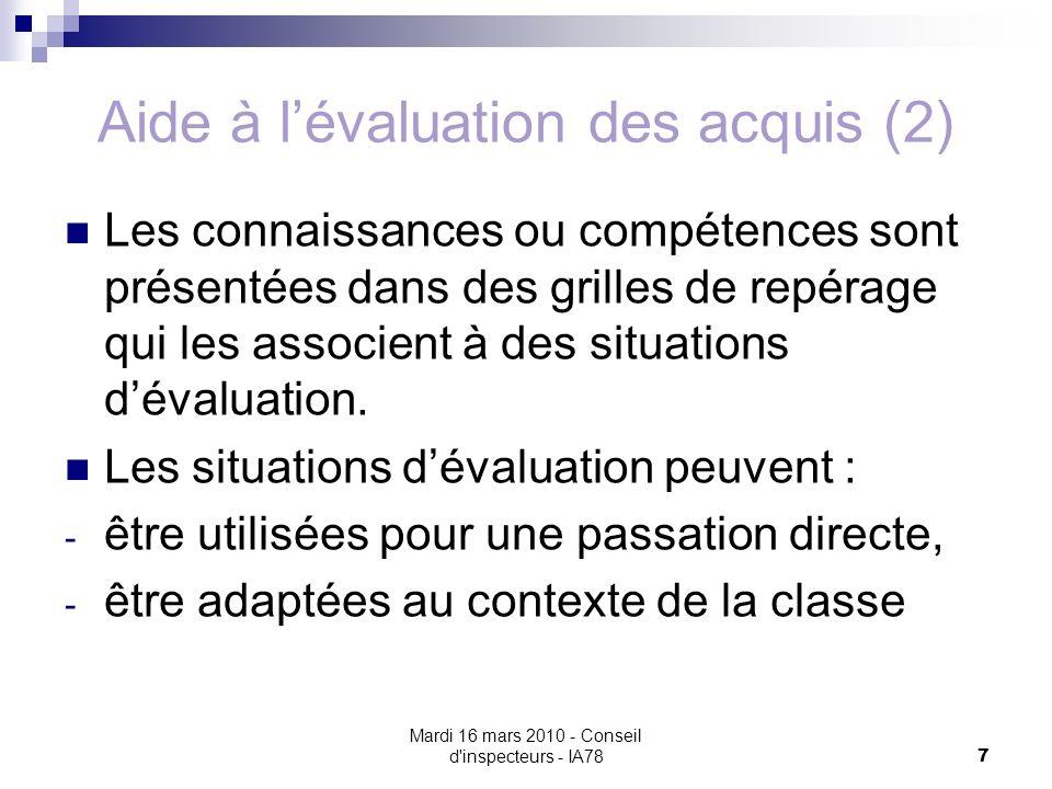 Mardi 16 mars 2010 - Conseil d inspecteurs - IA78 7 Aide à lévaluation des acquis (2) Les connaissances ou compétences sont présentées dans des grilles de repérage qui les associent à des situations dévaluation.