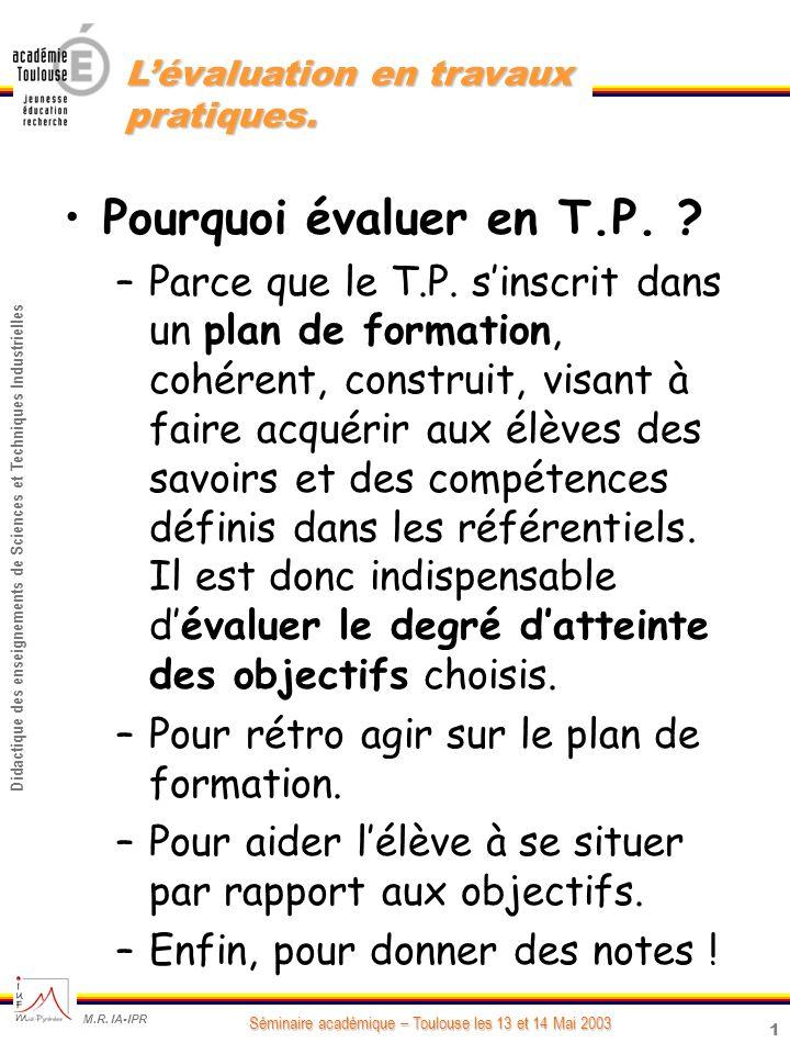 1 Didactique des enseignements de Sciences et Techniques Industrielles Séminaire académique – Toulouse les 13 et 14 Mai 2003 M.R.